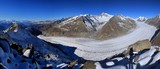 Aletsch glacier, longest glacier of the Alps. View from Eggishorn.