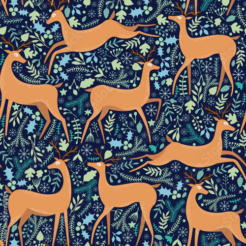 Cotton fabric Vector deer seamless pattern