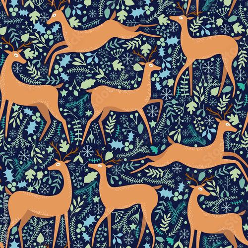 Cotton fabric Vector deer seamless pattern