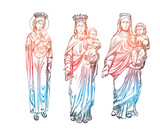 Set of Mother Mary with Jesus Christ baby in her hands. Mother of God with a child. The Nativity or the Birth of the Blessed Jesus Christ. Blackwork adult flesh tattoo concept. Vector. - 178283115