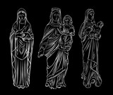 Set of Virgin  Mary or Saint Mary or Mother of God with baby Jesus Christ in her hands. Birth of Jesus. Hand drawn illustration. Blackwork adult flesh tattoo. Christmas holiday template. Vector. - 178283172