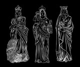 Set of Virgin  Mary or Saint Mary or Mother of God with baby Jesus Christ in her hands. Birth of Jesus. Hand drawn illustration. Blackwork adult flesh tattoo. Christmas holiday template. Vector. - 178283187
