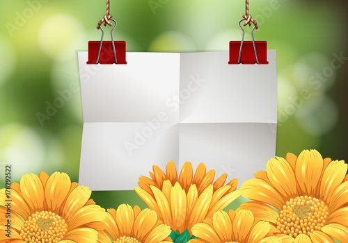 Papiers peints Pistache Blank paper with flowers in background