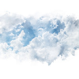 Blue sky with white cloud. Artistic watercolor painting (retouch) abstract background. - 178302915