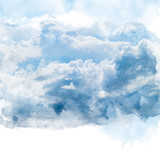 Blue sky with white cloud. Artistic watercolor painting (retouch) abstract background. - 178302934