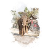 Elephant lifts its leg for mahout. Watercolor painting (retouch). - 178302941