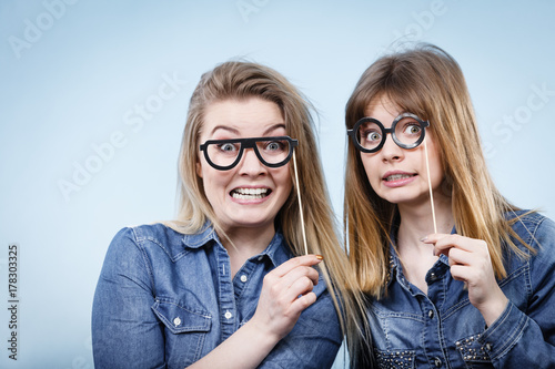 Two happy women holding fake eyeglasses on stick Poster