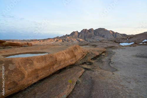 Foto op Canvas Wit Views of Mount Bektau Ata. Bektau Ata - a mountainous area in the middle of the Kazakhstan steppe, within a radius of about 5-7 km.