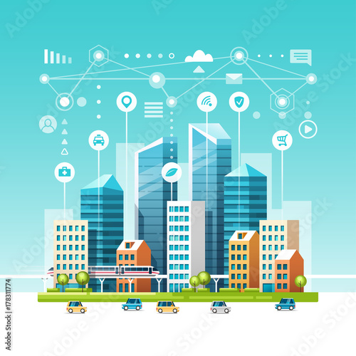 Fotobehang Turkoois Urban landscape with buildings, skyscrapers and transport traffic. Concept of smart city with different icons. Vector illustration.
