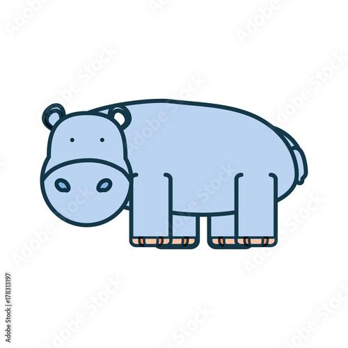 Poster cartoon hippopotamus icon