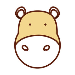 cartoon hippopotamus icon