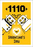 Cartoon Robots Love Valentine Wall Sticker