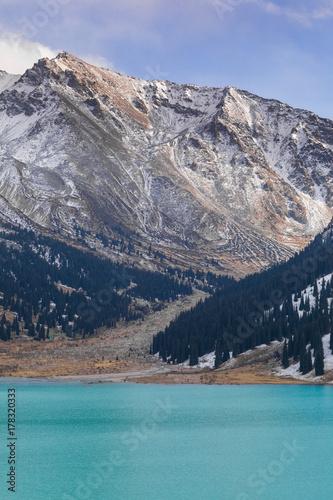 Fotobehang Donkergrijs glacial lake, Big Almaty Lake, Kazakhstan, Almaty