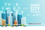 Fototapety Urban landscape with buildings, skyscrapers and transport traffic. Concept of smart city with different icons. Vector illustration.