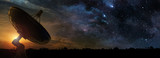 radio telescope at the dawn of a starry night