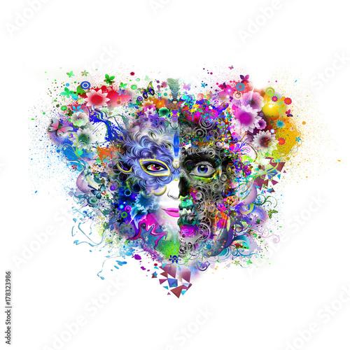 Fotobehang Reznik Иллюстрация головы на абстрактном фоне