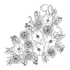 white black contour vector bouquet of poppy rose and eucalyptus plant
