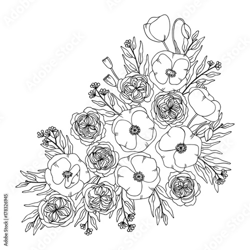 white black contour vector bouquet of poppy rose and eucalyptus plant