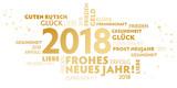 2018 Neujahrsgruss weiß und gold mit guten wünschen für das neue Jahr