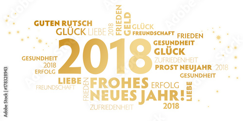 2018 Neujahrsgruss weiß und gold mit guten wünschen für das neue Jahr - 178328943