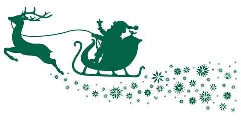 Christmas Sleigh & Snowflakes Green