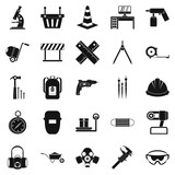 Rigging icons set, simple style - 178330589