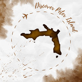 Peter Island watercolor island map in sepia colors. Discover Peter Island poster with airplane trace and handpainted watercolor Peter Island map on crumpled paper. Vector illustration. - 178330909