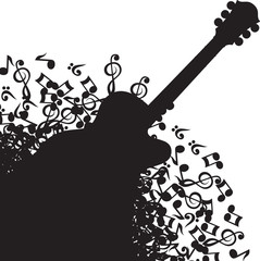 Abstract black background with guitar and notes