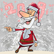 cartoon funny Santa Claus laughs pointing his finger in the forest of 2018 - 178341947