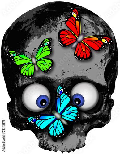 Keuken foto achterwand Vlinders in Grunge Skull with three butterflies