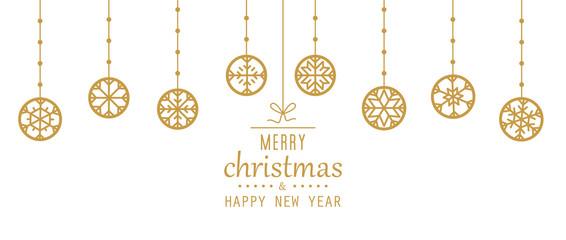 Christmas elements hanging gold isolated background.