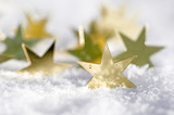 Merry Christmas: golden stars and snow :) - 178346317