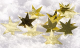 Merry Christmas: golden stars and snow :) - 178346397
