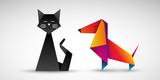 kot i pies origami wektor - 178346544