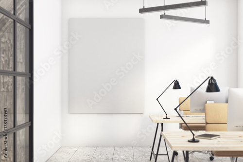 Office with empty banner