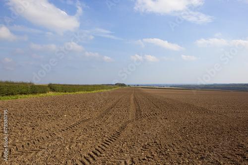 Aluminium Blauwe hemel tyre tracks in soil