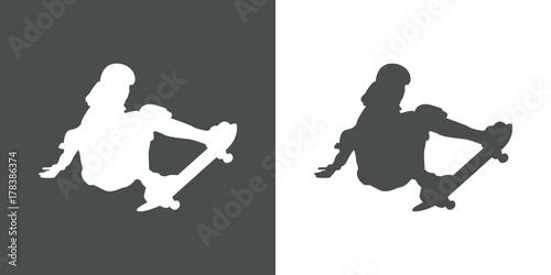 Fotobehang Skateboard Icono plano silueta skater gris y blanco
