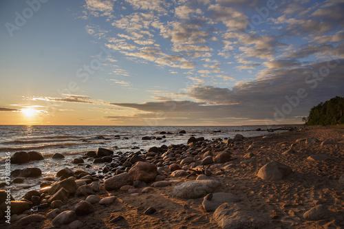 Aluminium Chocoladebruin beach, sand, sunset, travel, water, sea, nature, landscape, Europe, sky, clouds,