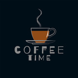 A cup of coffee on a saucer with a hot drink. Vector illustration. Linear icon.