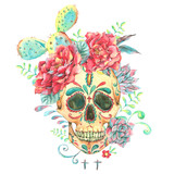 Watercolor card with skull and roses - 178391528