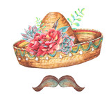 Mexican watercolor greeting card with sombrero - 178393364