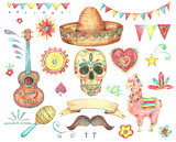Watercolor set of mexican hand painted design elements - 178393549