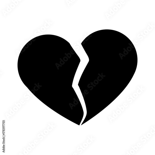 Broken heart symbol icon vector illustration graphic design
