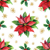 Watercolor poinsettia and golden snowflakes seamless pattern. - 178413374