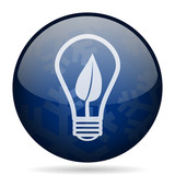 Green energy light bulb blue winter christmas design web icon. Round button for internet and mobile phone application designers. - 178417325