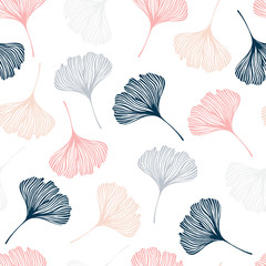 Seamless pattern with ginkgo leaves.
