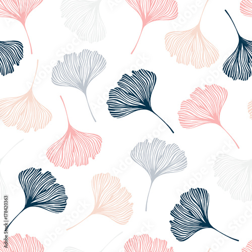 Seamless pattern with ginkgo leaves. - 178420363