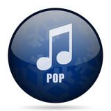 Pop music blue winter christmas design web icon. Round button for internet and mobile phone application designers.