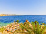 Panorama of the beach at the reef in Sharm el Sheikh, Egypt