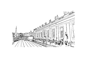 Hand drawn sketch of St. Peter's Square, Vatican City, Rome Italy in vector illustration.